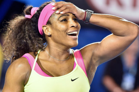 Serena Williams of the US celebrates after victory against Russia's Maria Sharapova during the women's singles final on day thirteen of the 2015 Australian Open tennis tournament in Melbourne on January 31,  2015. AFP PHOTO / PAUL CROCK -- IMAGE RESTRICTED TO EDITORIAL USE - STRICTLY NO COMMERCIAL USEPAUL CROCK/AFP/Getty Images